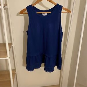 Navy Peplum Cotton Tank